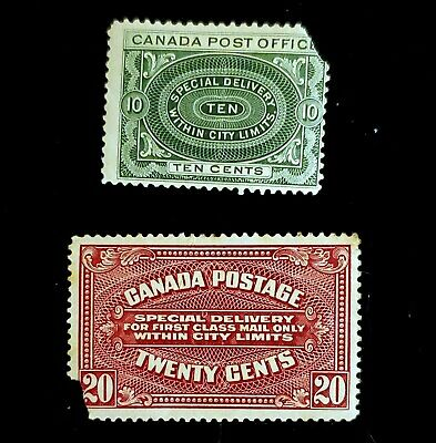 1922 Canada Special Delivery Express Stamps E1 & E2! MH BOB faults would be $220