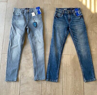 2x Next Boys Blue Denim Skinny Jeans Aged 10 Years Old BNWT