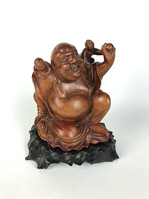 A Late 19th Century Chinese Carved Boxwood Figure of Budai - Original Stand.