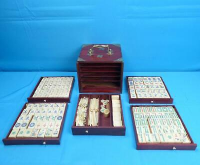 Vintage Antique Bone & Bamboo Mahjong Set Mah Jongg Tile Game - 1920's