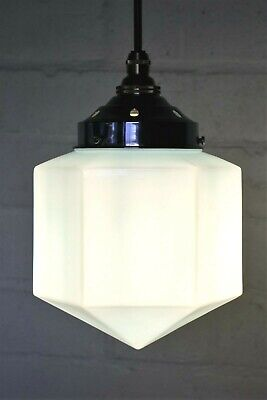 Antique Art Deco Ceiling Light Blue Glass 1930s with Chromed Brass Gallery