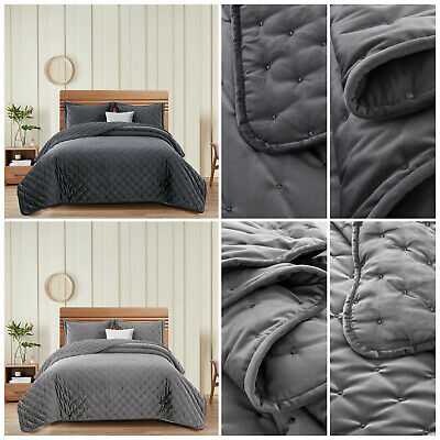 Grey Quilted Bedspread Bed Throw Double King Luxury Bedding Sets With Pillowcase
