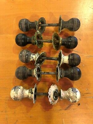 5 Pairs Antique Ebony Beehive Door Knobs Handles With Back Plates