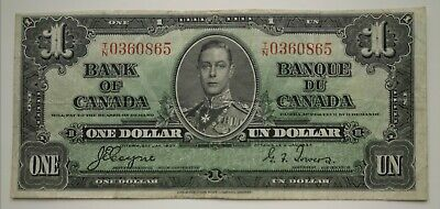 *** 1937  Bank  Of  Canada *** One  Dollar ***  Fine *** Coyne-Towers ***