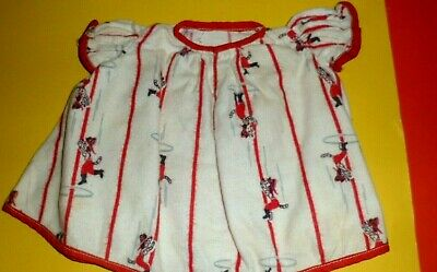 DALMATIAN PRINT FLANNEL NIGHTGOWN VINTAGE DOLL fit Med. doll measurements incl.