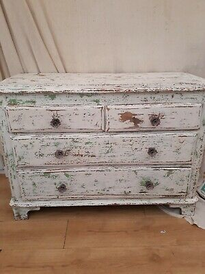 Vintage Old Painted Pine Chest of 4 Drawers Victorian Antique Beautiful