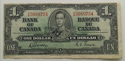 *** 1937  Bank  Of  Canada *** One  Dollar ***  Fine+ *** Gordan - Towers ***