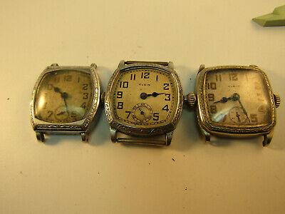 ART DECO ORNATE BEZEL ELGIN WATCHES FOR restoration or TRENCH PARTS 1 RUNS