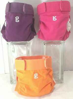 3 Gdiapers Mediums: Pink, Purple & Orange Gpants & Pouches - Pre Owned