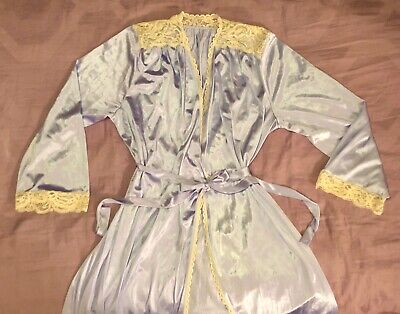 Retro Vintage Lingerie Robe Dressing Gown Silky Nylon & Lace ~ Full Length