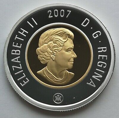 ** Canada  Toonie  2007  ** Proof  Sterling  Silver  With  24Kt  Gold  Plated **
