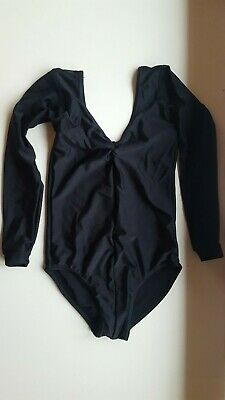 TAPPERS & POINTERS girls gymnastics LEOTARD sz 3A 11-12 years long sleeve BLACK