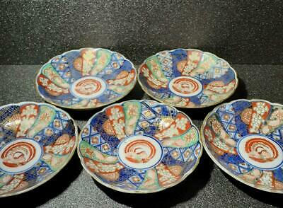 OLD IMARI Set of 5 Plates Meiji Period Original Japanese Hand Paint Pottery