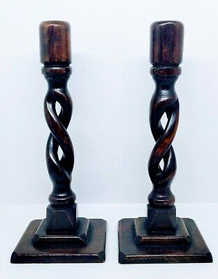 """Pair of Art Deco Wooden Barley Twist Candle Sticks / Holders Approx 10"""""""