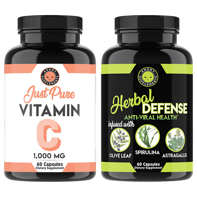 Just Pure Vitamin C Pills 1,000MG + Herbal Defense Antiviral Immune Support 2pk
