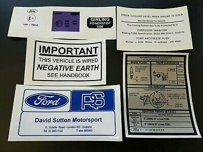 Ford Escort Mk1/2 Under Bonnet Decal Set Sticker pack  RS2000 MEXICO 1300GT