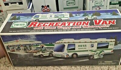1998 Hess Recreation Van Truck with Dune Buggy and Motorcycle w/box