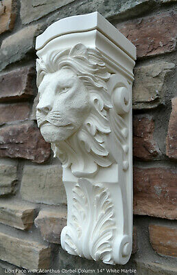 "Animal Lion Face with Acanthus Corbel Column plaque 14"" sconce wall carving"