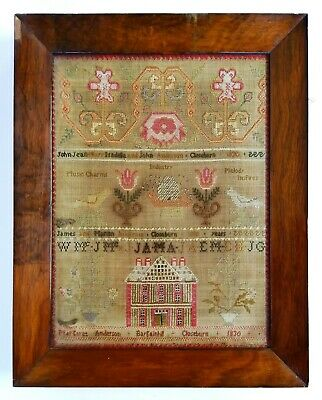 Antique Early 19Th Century Georgian Textile Childs Sampler Picture