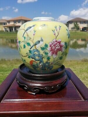 Large Antique 1900s Chinese Hand Painted Porcelain Ginger Jar With Black Bird