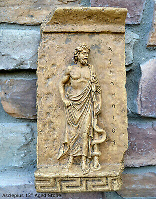 "Asclepius Asklēpiós Frieze fragment Sculpture reproduction art 12"" Roman Greek"