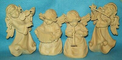 vintage Wood Hand Carved MUSICAL ANGEL SET OF 4 Holz Schnitzerei  Edgar Schwer