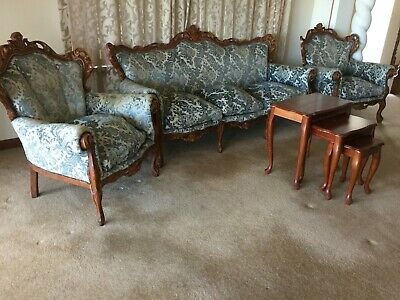 Antique Vintage Classical Carved Italian 3 Piece Blue Lounge Suite Nest 3 Tables