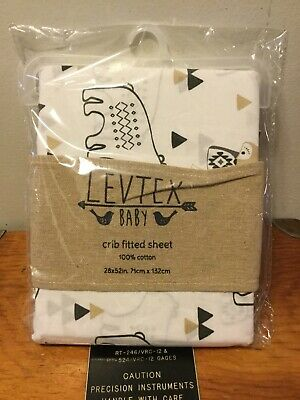 Levtex Baby Bailey Animal Fitted Crib Sheet Cotton Nursery New Neutral