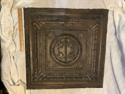 "Antique Ornate 24"" X 24"" Tin Ceiling Tile 2' X 2' Victorian Art Nouveau Salvage"