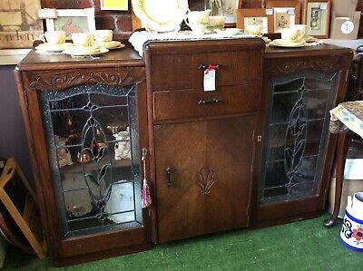 Vintage Art Deco Oak Sideboard With Two Leadlight Featured Doors