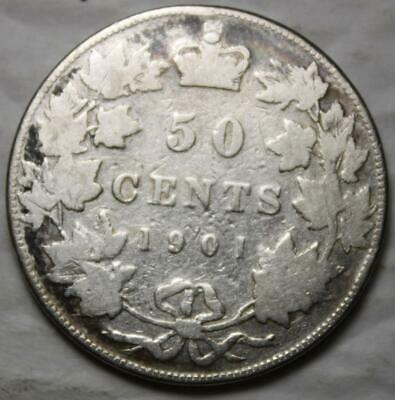 Canada 1901 Silver 50 Cents, Old Date Queen Victoria