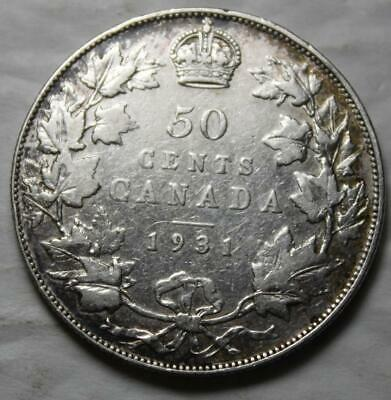 Canada 1931 Silver 50 Cents, Better Old Date KGV