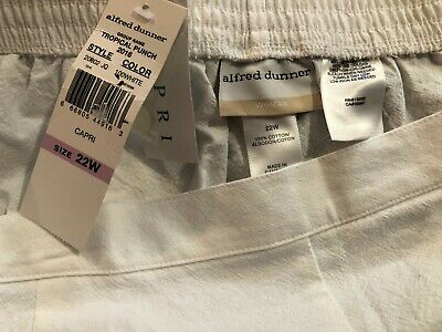 ALFRED DUNNER Women's White Tropical Punch Capri Pants - Size 22W - NWT