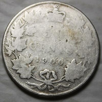 Canada 1900 Silver 50 Cents, Old Date Queen Victoria