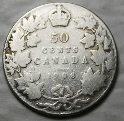 Canada 1908 Silver 50 Cents, Old Date King Edward VII