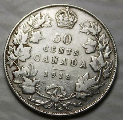 Canada 1918 Silver 50 Cents, Old Date KGV