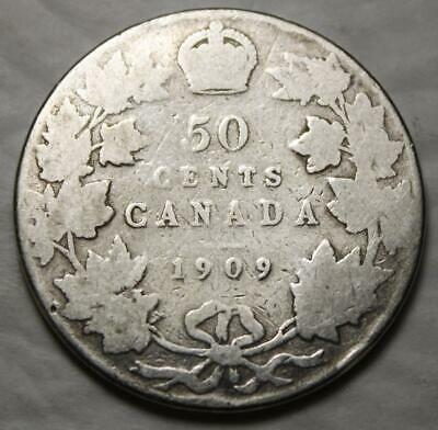 Canada 1909 Silver 50 Cents, Old Date King Edward VII