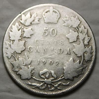 Canada 1907 Silver 50 Cents, Old Date King Edward VII
