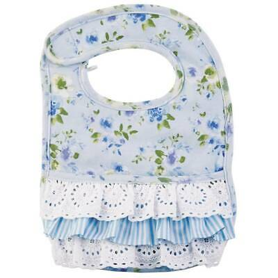 Mud Pie Still Blooming Blue Floral Ruffle Bib