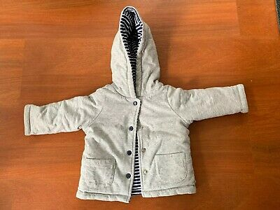 Sprout Reversible Jacket Grey And Blue/White Stripe - Size 00