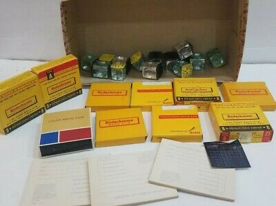 Vintage Camera Accessories Lot Of 10 Flim Boxes With New And Used And Cube Flash