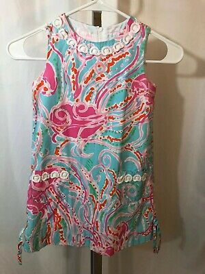 Lilly Pulitzer Multicolor Sleeveless White Embroidery 2 Pocket Shift Dress Sz 6