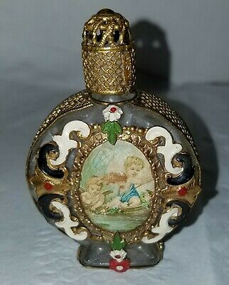 Antique Victorian Brass/Glass Miniature Perfume Bottle w/Cherub Painting- Enamel