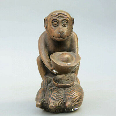 Collectable China Old Bronze Hand-Carved Monkey & Wealth Bring Luck Decor Statue