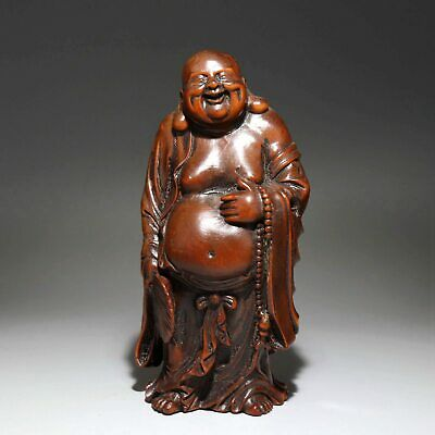 Collectable Handwork China Old Boxwood Carve Maitreya Buddhism Delicate Statue