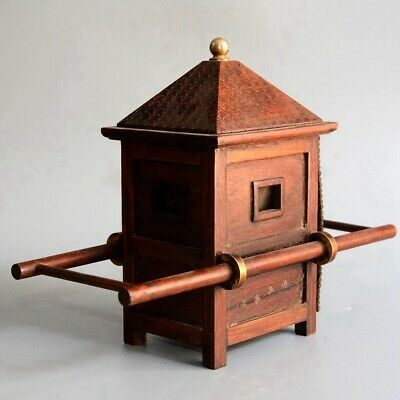 Collection Antique Boxwood Hand-Carved Ancient Noble Sedan Chair Delicate Statue