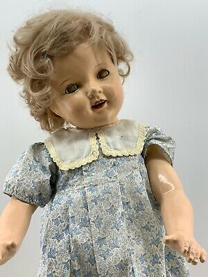 "RARE Vintage Full Composition Shirley Temple Type 26"" Doll w/ Teeth & Dress TLC"