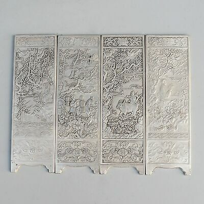 Collectable China Antique Miao Silver Hand-Carved Figure & Scenery Screen Statue