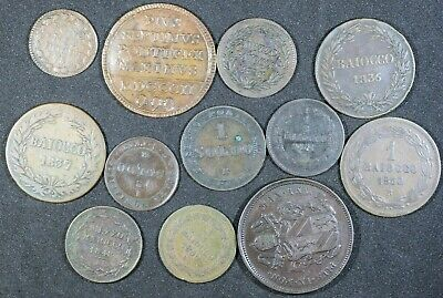 Papal States Section Of Bronze Coins 1802-1867 Some Scarcer Types