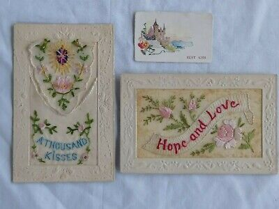 Australian WW1 silk postcards x 2. A thousand kisses, Hope & love. With messages